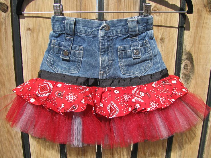 Denim Tutu Skirt -  Recycled Jeans - Size 5T. $23.00, via Etsy.