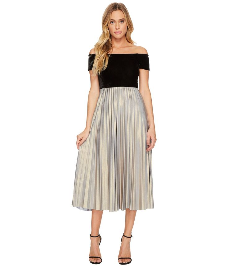DONNA MORGAN Off Shoulder Midi Dress with Velvet Top and Pleated Jersey Skirt. #donnamorgan #cloth #