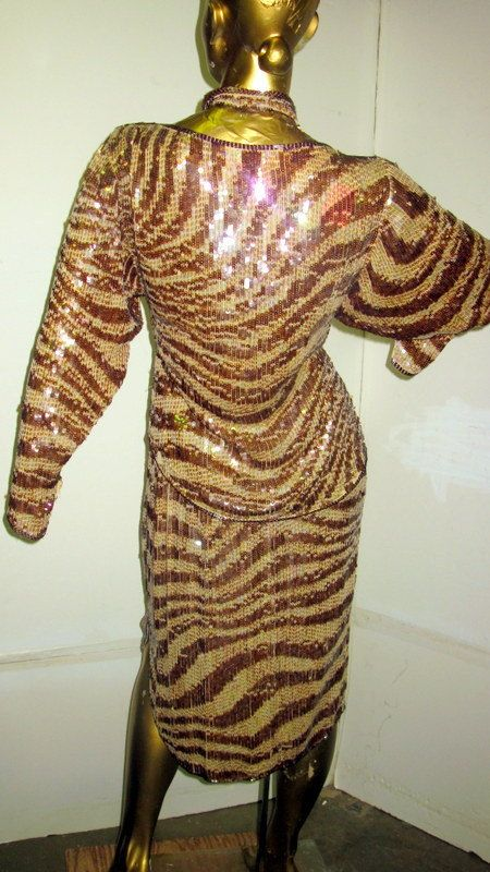 sz med vintage 80s LILLIE RUBIN sexy 2 piece animal print sequin dress by ShowStopingVintage on Etsy