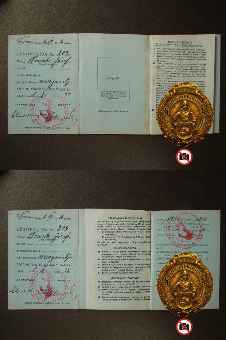 1935 Toruń=Legitymacja/LIGA MORSKA,Lux,5273
