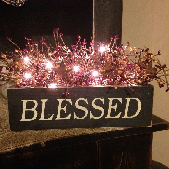 Blessed Primitive Lighted Wood Box With by DaisyPatchPrimitives, $41.99