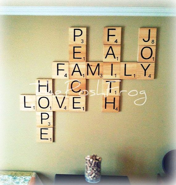 Large Giant Scrabble Tile Wall Hanging Wood Hand by ThePoshFrog, $8.00