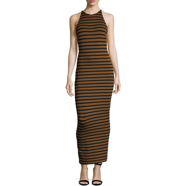 Torn by Ronny Kobo Women's Striped Jersey Sheath Dress - Size S ($79) ❤ liked on Polyvore featuring dresses, multi, evening dresses, jersey knit dresses, knit dress, brown dress and jersey dress