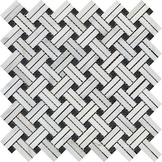 Oriental White / Asian Statuary Marble Polished Stanza Basketweave Mosaic Tile w / Black Dots