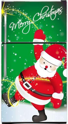 Happy Santa Magnetic Bottom Freezer Refrigerator Covers