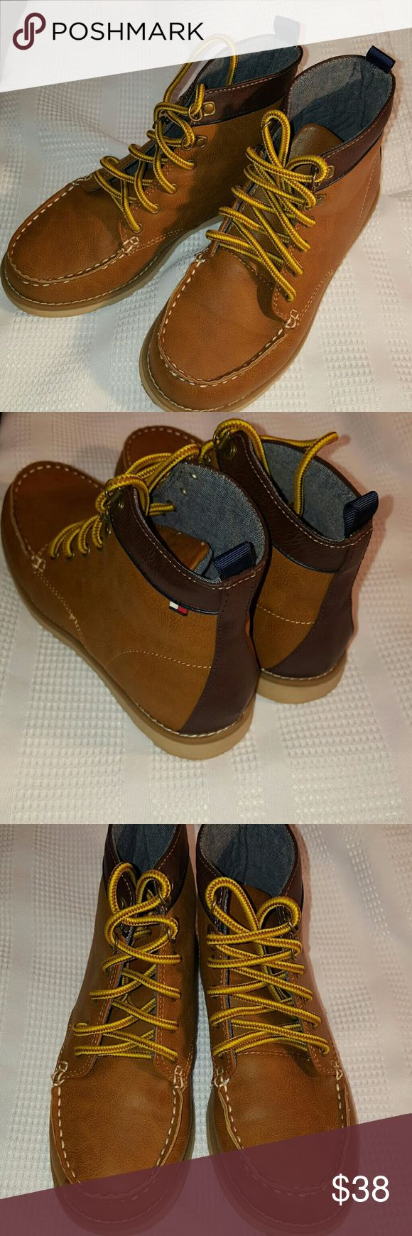 Boys Tommy Hilfiger Hiking Boots sz 2 Worn 2x.  Perfect condition.  Sz 2 youth boys hiking boots.  Chambray lining.  Cognac color with brown trim. Smoke free, pet free home. Tommy Hilfiger Shoes