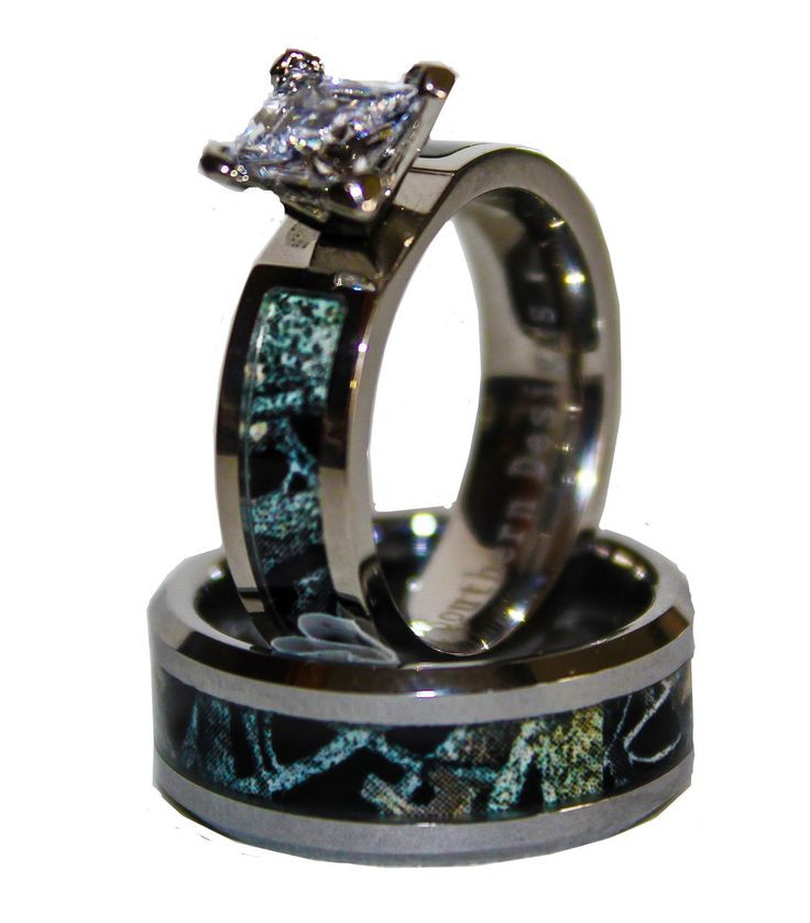 New Black Camo on Silver Band Couples Ring Set With Stone