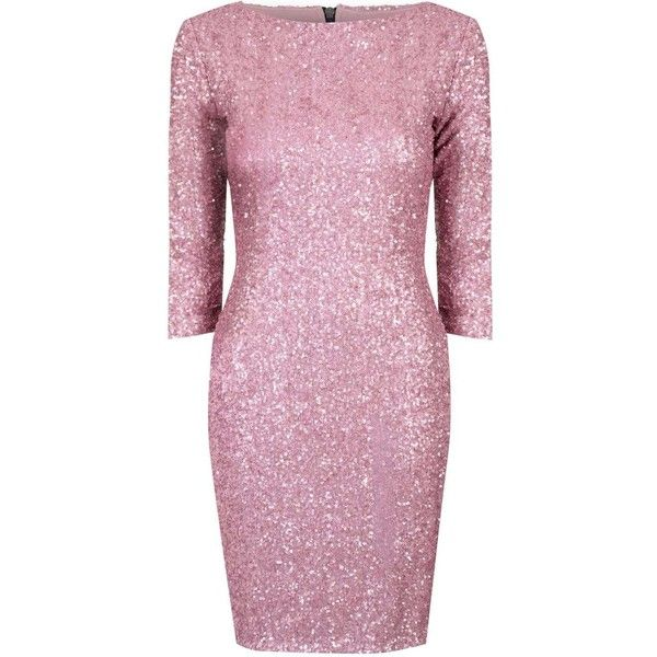 **Alice & You Dusty Pink Sequin Bodycon Dress ($35) ❤ liked on Polyvore featuring dresses, pink, pink body con dress, bodycon dress, sleeve cocktail dress, pink bodycon dress and zipper back dress