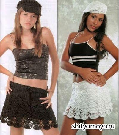 Летняя черная и белая юбка, связанная крючком