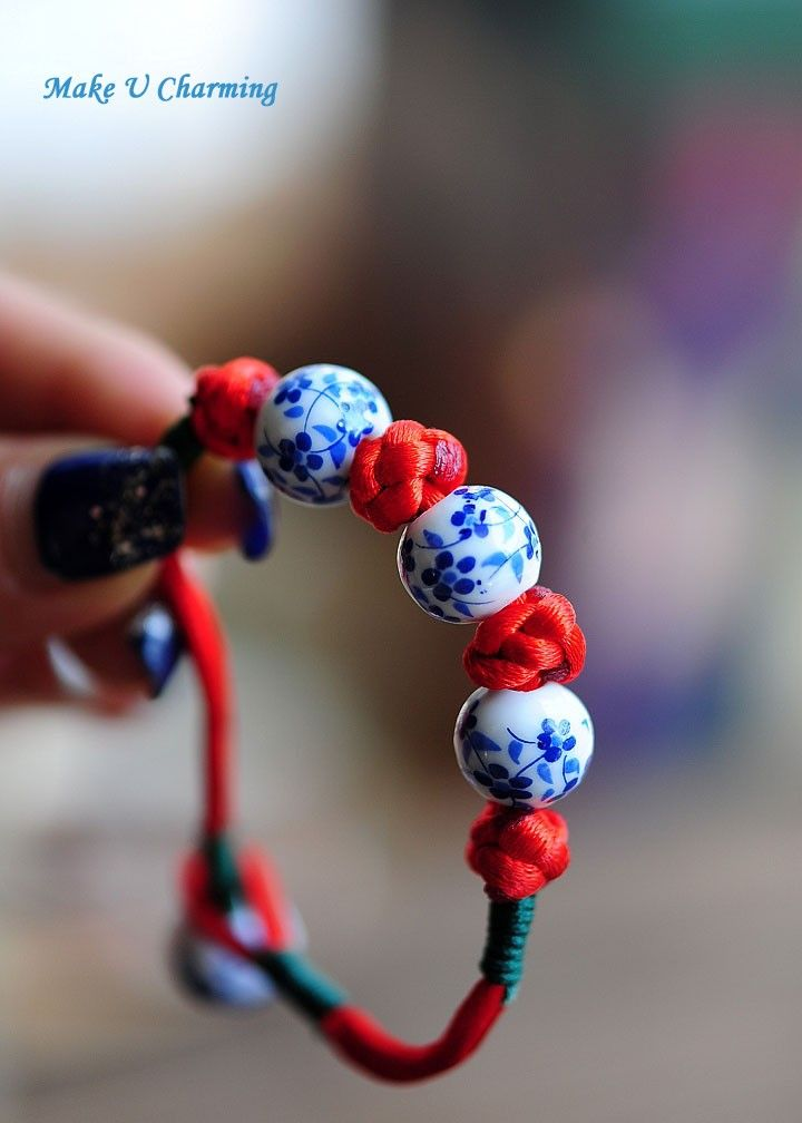 Button Knot Red String Porcelain Beads Bracelet