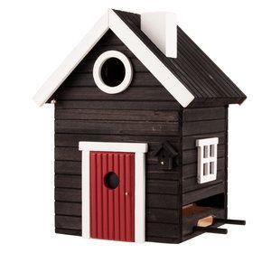 Multiholk Black House - can serve both as a nest box or feeder birds. Developed in accordance with ornithological knowledge. #birdnests #nistkästen #fågelholkar