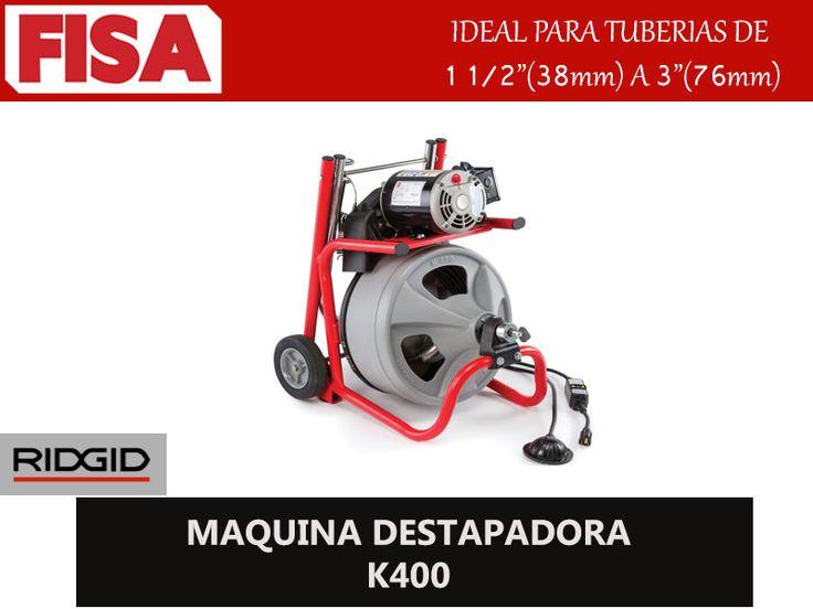 MAQUINA DESTAPADORA K400. Ideal para tuberias de 38mm a 76mm- FERRETERIA INDUSTRIAL -FISA S.A.S Carrera 25 # 17 - 64 Teléfono: 201 05 55 www.fisa.com.co/ Twitter:@FISA_Colombia Facebook: Ferreteria Industrial FISA Colombia