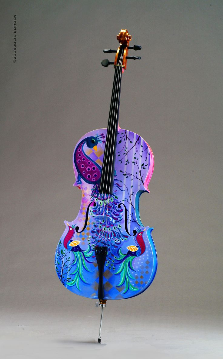 Peacock cello.  This item is no longer on the Web site, but click through for her peacock-themed gallery of instruments, bags, mugs, smartphone covers, and more, here:  http://www.juleez.com/shop/shop-by-theme-collections-juleez/juleez-peacock-themed-gallery-collection.html