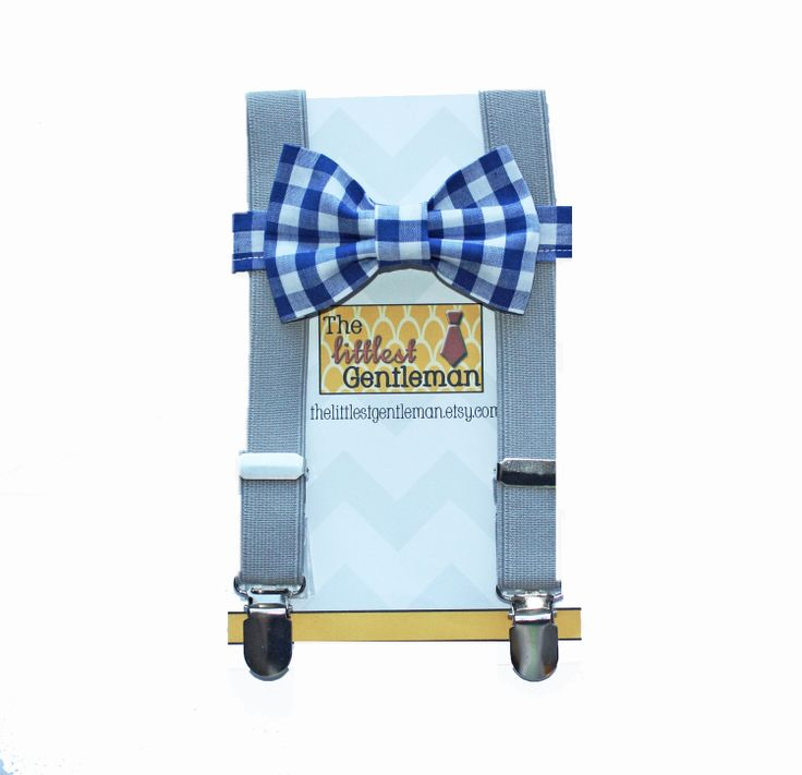 boy bow tie suspenders set navy plaid bow by TheLittlestGentleman, $31.99