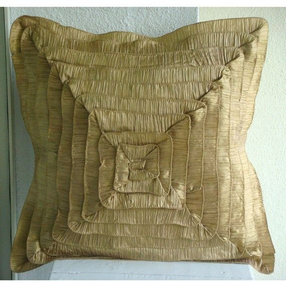 Vintage Gold Frills  Pillow Sham Covers  24x24 by TheHomeCentric