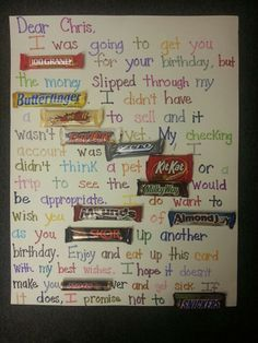 Candy bar poster birthday card!