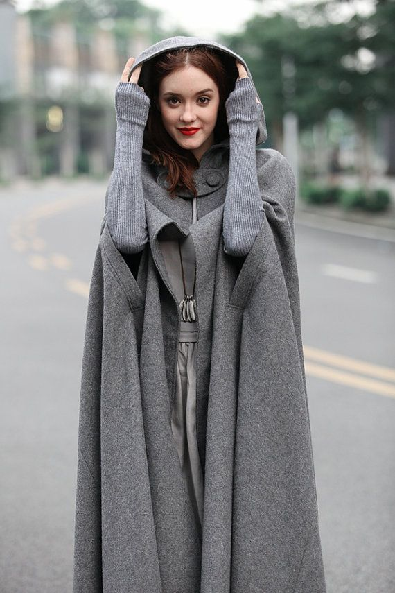 """[Christmas Gift] Buy 2 or more items and receive 10% OFF one item! Please use promo code love10. Buy $500 and get 15% per item! Please use promo code """"love15"""" maxi wool cape in winter. fully lined. soft and beautiful. military style button panel flattering dress bottom oversized hood strong sense of presence This design belongs to our Moments Like This series. What will you take you back to those sweet moment? We discussed it warmly when we planned to make something special enough for the…"""