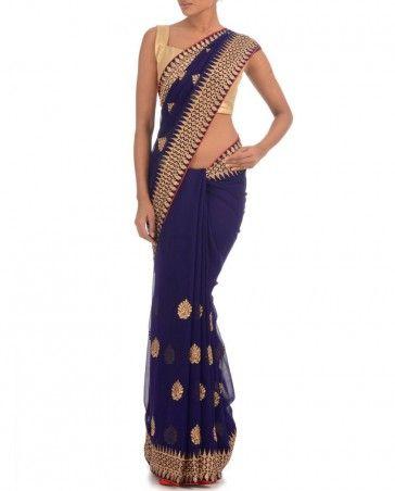 Midnight Blue Sari with Zari Motif