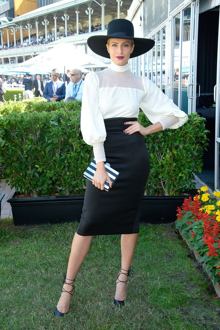 Erin Holland.. bespoke m a r i a m.seddiq blouse and skirt, SIREN heels, MIMCO clutch, and Morgan & Taylor hat..