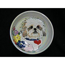 "Shih Tzu 8"" Ceramic Dog Bowl for Food and Water. Personalized at no Charge. Signed by Artist, Debby Carman."