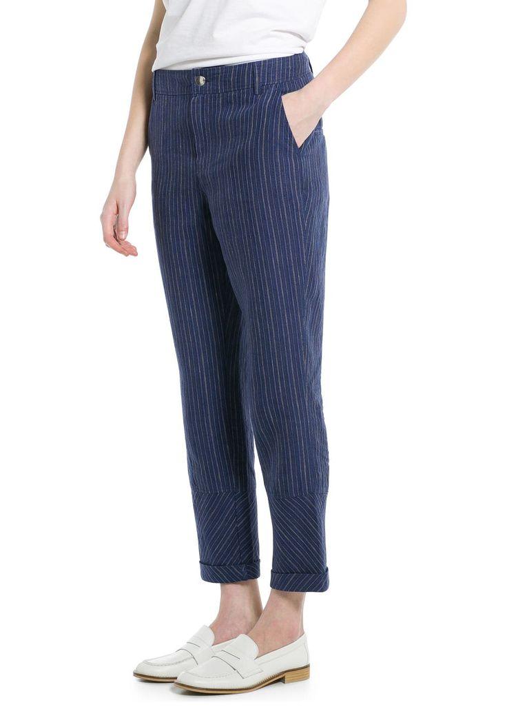 Pantaloni lino righe - Pantaloni da Donna   OUTLET