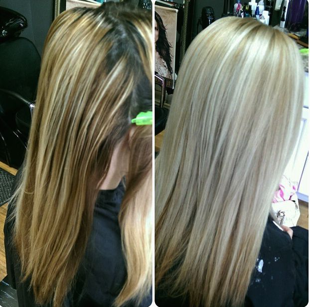 Before and After. She went blonder and her hair is healthier!