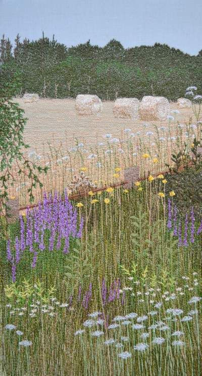 Summer Hay, free motion machine embroidery by Judi Miller
