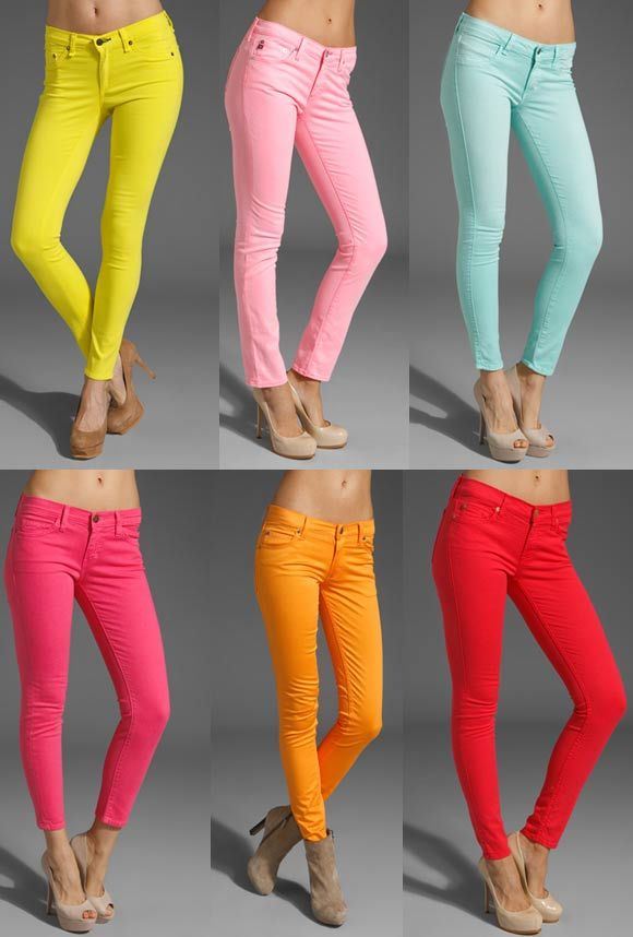 i'll take one of each, pleaseNude Shoes, Colors Pants, Skinny Jeans, Colors Jeans, Colors Skinny, Colored Denim, Colors Denim, Bright Colors, Colored Jeans