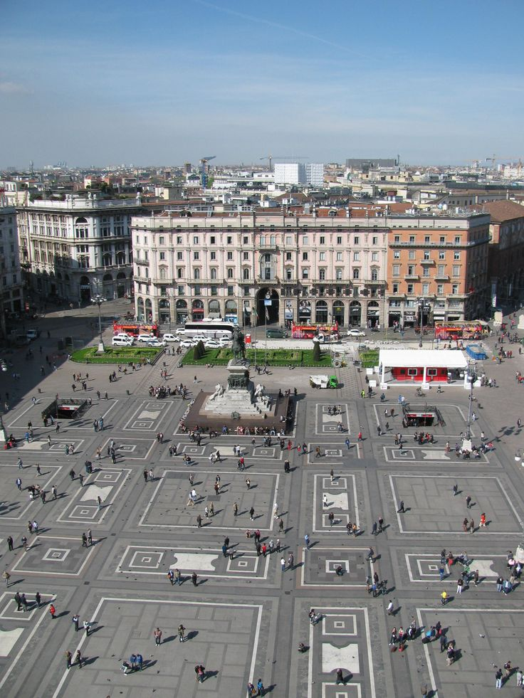 View of Piazza del Duomo from Milan Cathedral's roof.