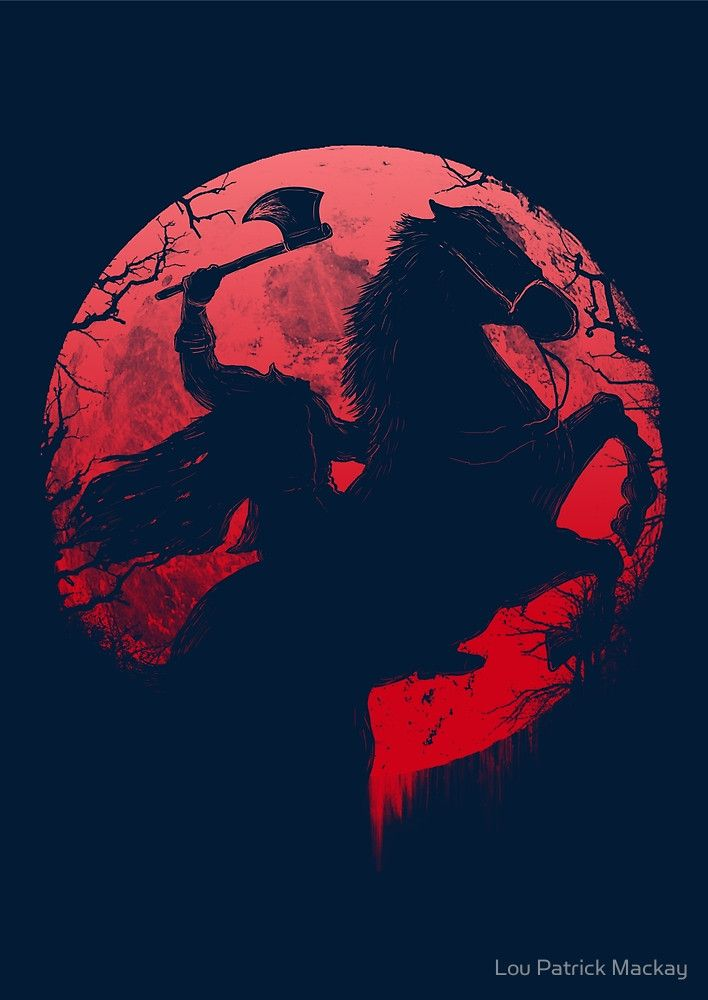 """Deck your halls with Halloween-inspired art—bring out the creepy and the crawly on throw pillows, prints, and tees!  Feel the terror with """"Headless Horseman"""" by Lou Patrick Mackay on Redbubble."""