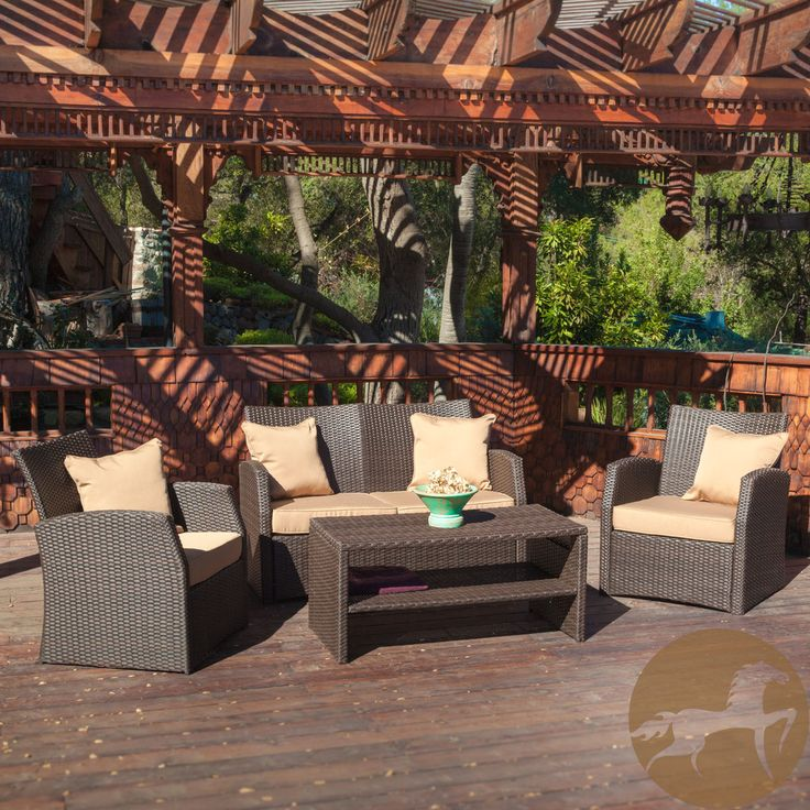 Christopher Knight Home Sanger Outdoor 4-piece Brown Wicker Seating Set |  Overstock.com - 14 Best Bob C/Office Patio Furniture Images On Pinterest