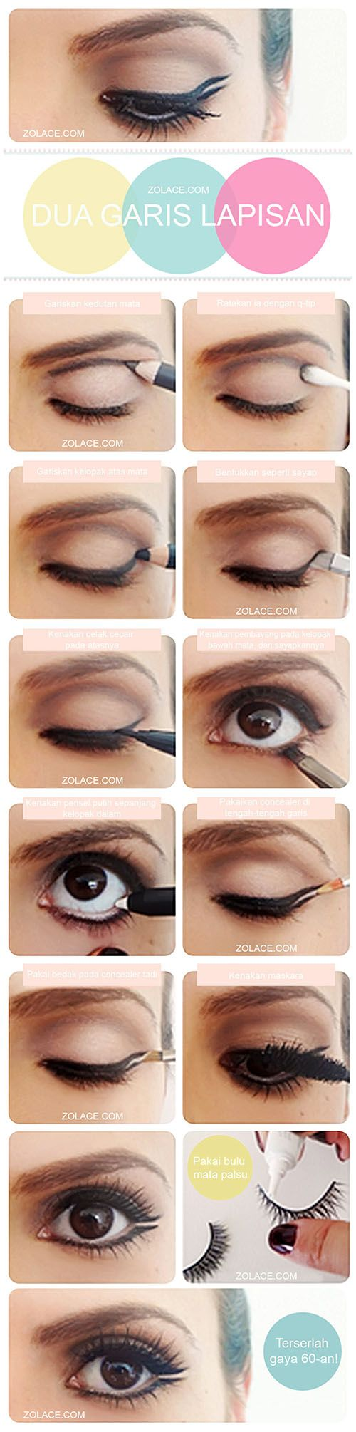 Langkah-langkah Menghasilkan #Makeup #Mata Gaya 60an!