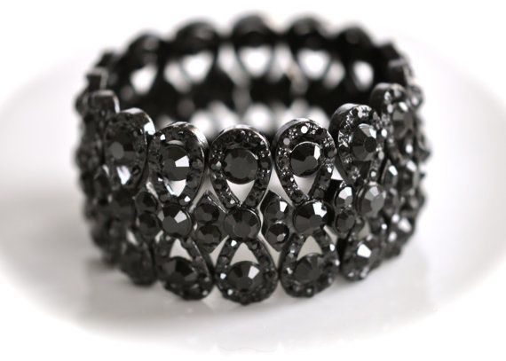 Gorgeous Vintage Inspired Jet Crystal Rhinestone Bracelet Cuff (Sparkle-157-U)