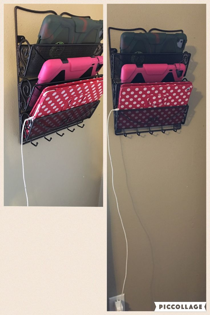 iPad charging station...from a wall mounted mail sorter :)
