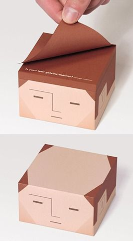 Balding post-its - awesome idea for hair salons, hair loss treatment centres