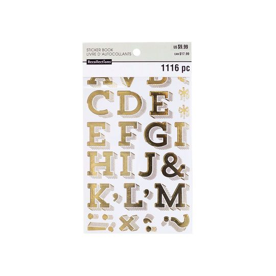 Gold Alphabet Sticker Book By Recollections™