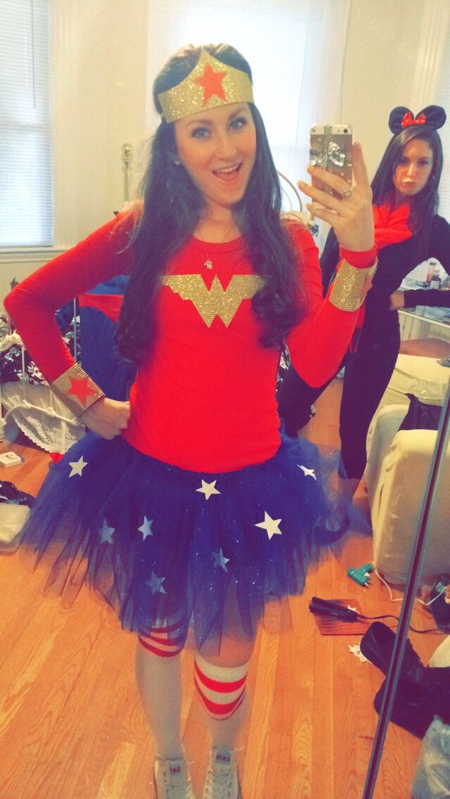 #DIY Wonder Woman Halloween costume  Red long sleeve shirt, cut out the W from…