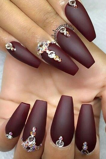 Matte burgundy rhinestone nails nailart design @swan_nails