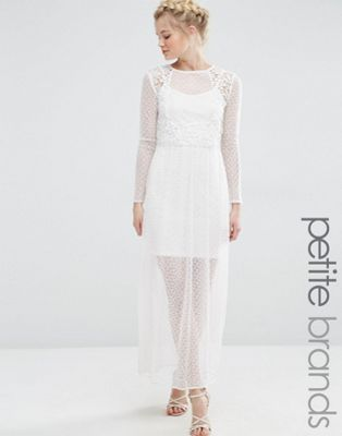 Vero Moda Petite Sheer Lace Mix Maxi Dress