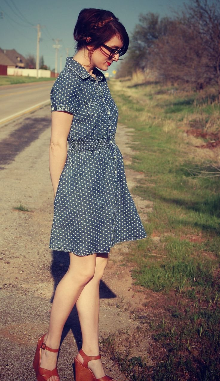 Polka dot dress and wedges on A Rambling Fancy