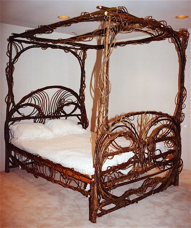 1000 images about twig and bent willow furniture on pinterest art decor furniture and rustic - Adirondack bed frame ...