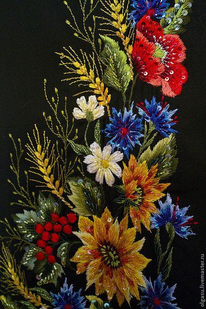 """Юбки ручной работы. Ярмарка Мастеров - ручная работа Вышитая юбка на запах """"Маки полевые цветы"""" ручная вышивка гладью. Handmade."""