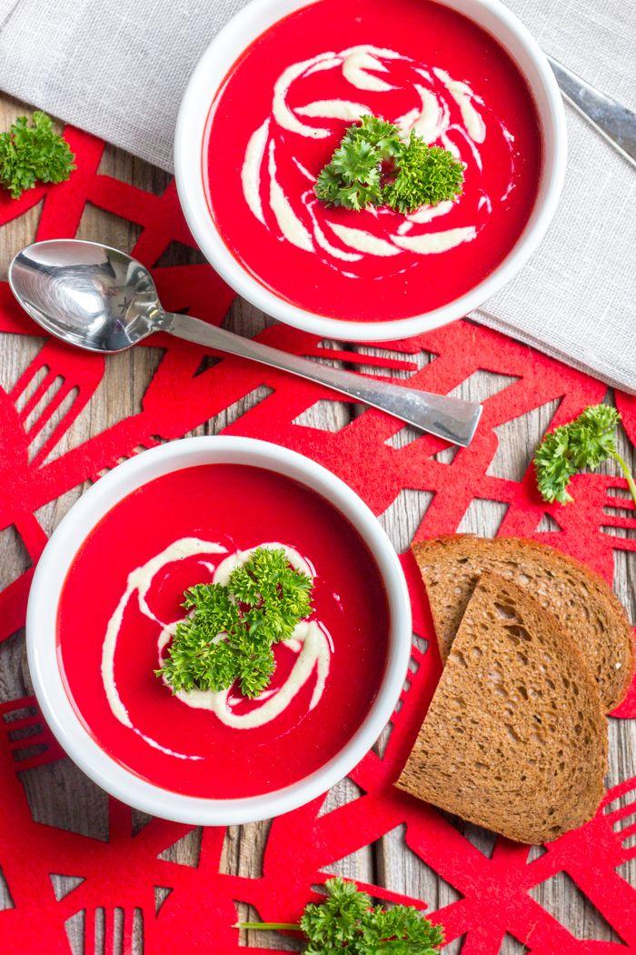 Beet, Sweet Potato, Ginger & Coconut Milk Soup with Lemon Tahini Drizzle    Klean Kuisine
