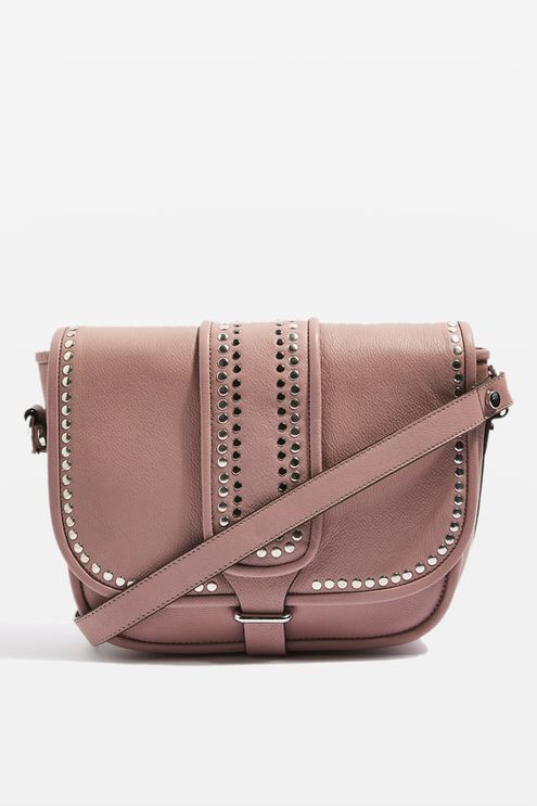 Leather Studded Saddle Bag from Topshop R1500,00