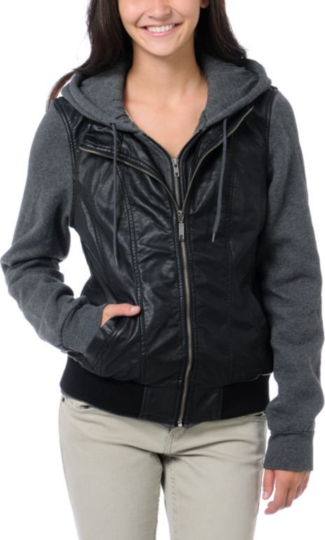 Dravus Girls Meridian Black Vest Hoodie with jersey sleeves