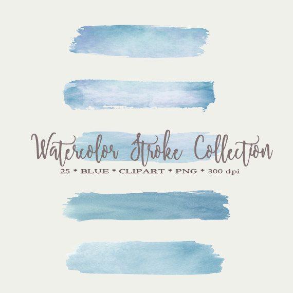 Watercolor Brush Strokes Blue Watercolor by DigitalDesignPaper