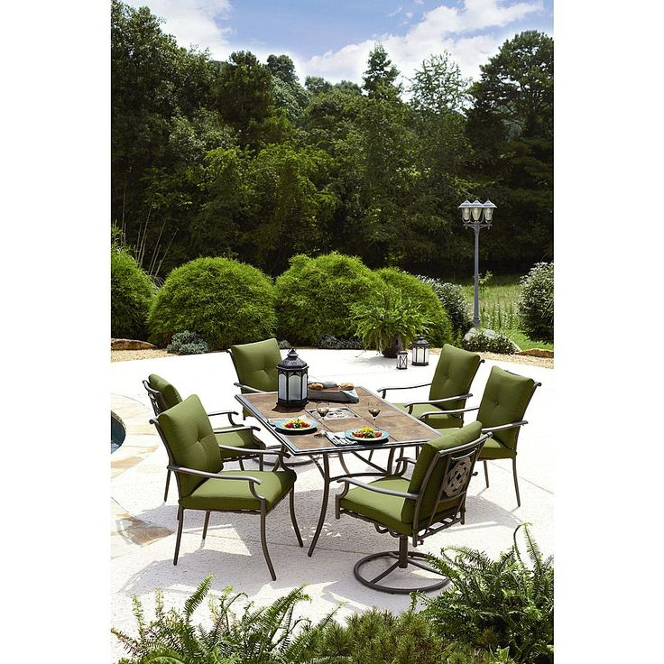 Garden oasis emery 7 piece cushion dining set green outdoor living patio furniture Garden oasis harrison 7 piece dining set