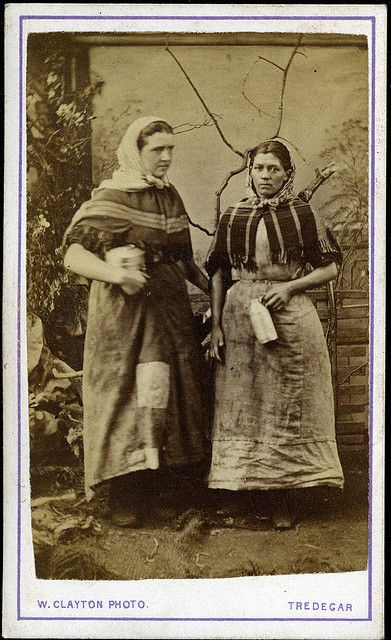 Female worker/s from the Tredegar ironworks in ragged clothing with protective headwear and tools, by W Clayton of Tredegar, Wales, 1865. by manchestergalleries, via Flickr