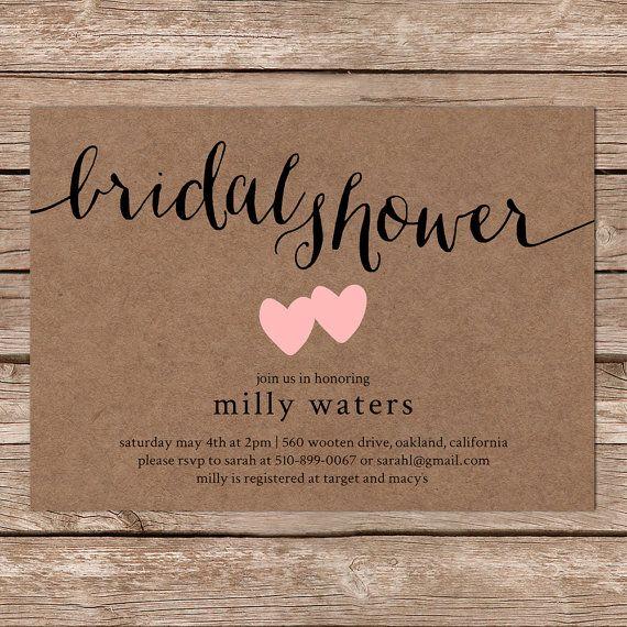 9 best bridal shower invitations images on pinterest wedding printable bridal shower invitation rustic wedding kraft paper invitation on etsy 1000 filmwisefo