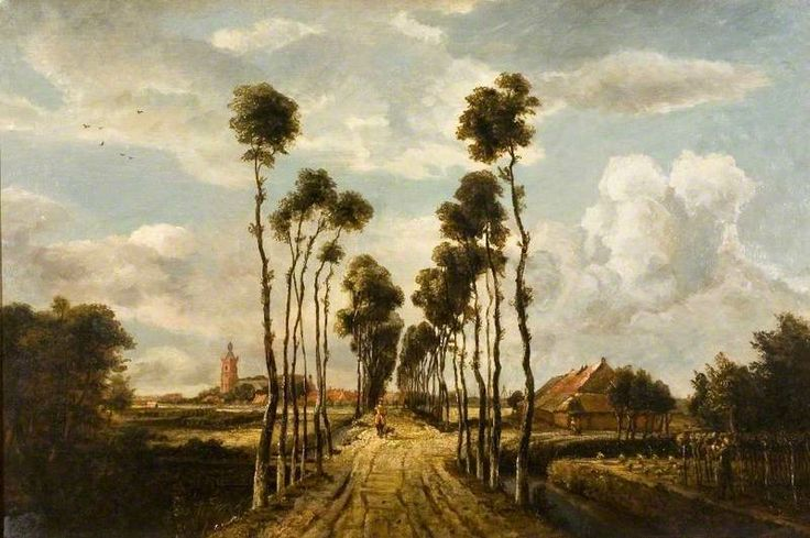 The Avenue at Middleharnis by Meindert Hobbema (after)  Oil on canvas, 59 x 90 cm